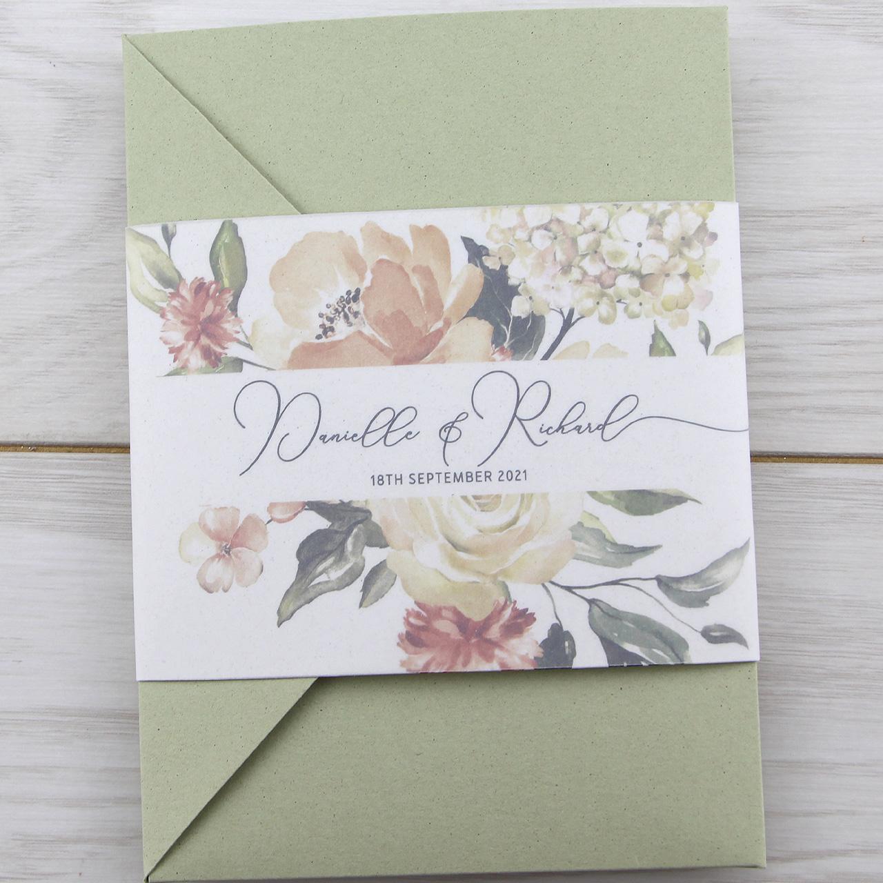 Wedding Invitations Pocketfold: Bryony Peaches Pocketfold Wedding Invitation