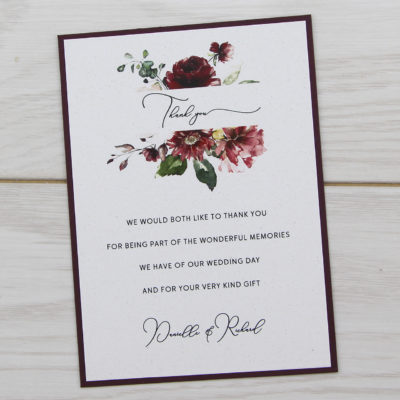 Bryony Claret Thank you Card