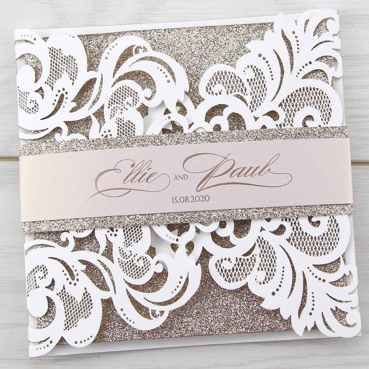 Wedding Laser Cut Invitations: Iris Laser With Glitter And Belly Band Wedding Invitation