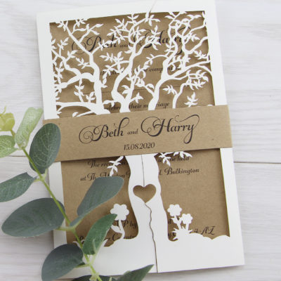 Laurel Tree with Belly Band Rustic Wedding Invitation