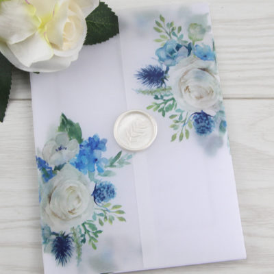 Lauren Ivory and Blue Wedding Invitation