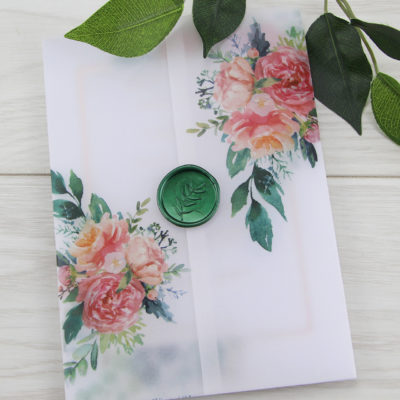 Lauren Coral Wedding Invitation