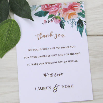 Lauren Coral Thank you Card