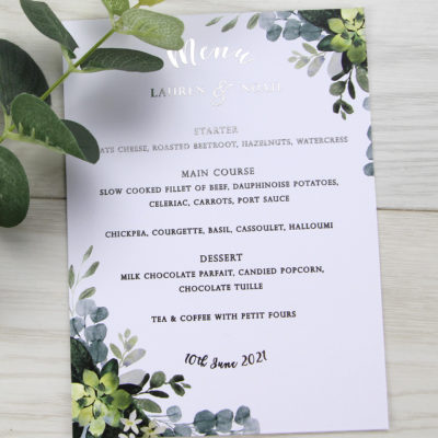 Lauren Greenery Menu