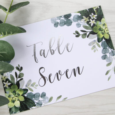 Lauren Greenery Table Name / Number