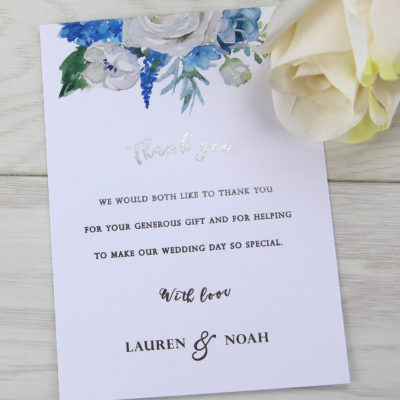 Lauren Ivory and Blue Thank you Card