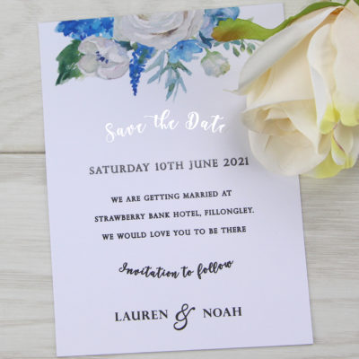 Lauren Ivory and Blue Save the Date
