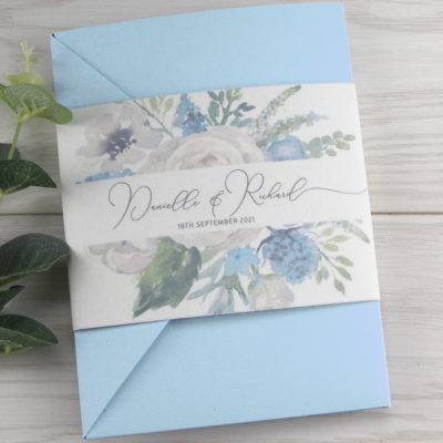 Bryony Blues Pocketfold Wedding Invitation