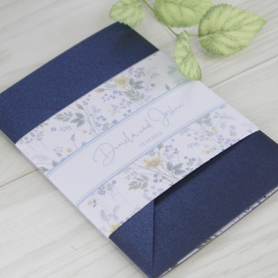 Daniela Blues Pocketfold Wedding Invitation