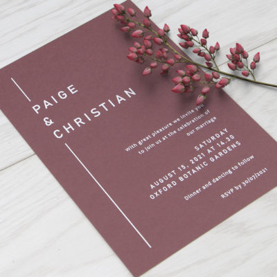Paige Wedding and Evening Invitation