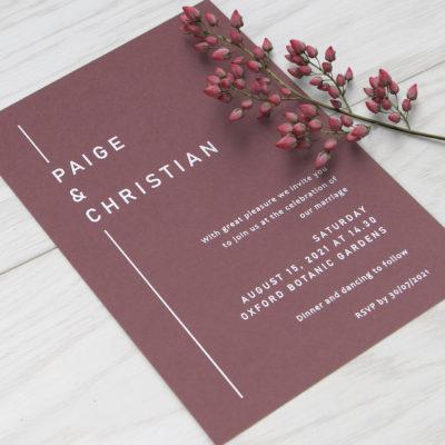 Paige Wedding and Evening Invitation