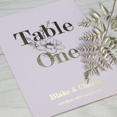 Blake Table Name / Number