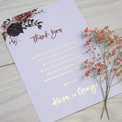 Kiera Thank you Card