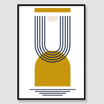 Navy and Ochre Abstract 3
