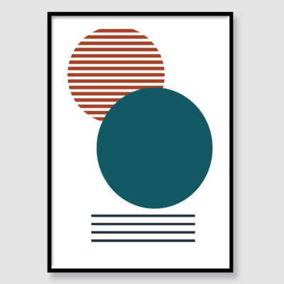 Teal and Burnt Orange Abstract 2