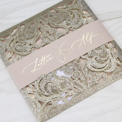 Lottie with Farrah Glitter Personalised Band Wedding Invitation