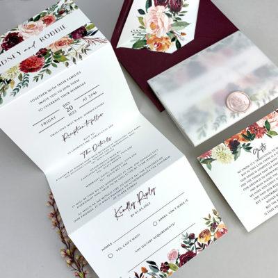 Sidney Claret Trifold Wedding Invitation