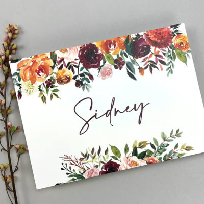 Sidney Table Name / Number