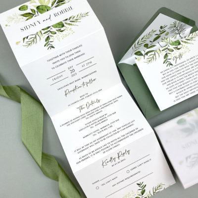 Sidney Greenery Trifold Wedding Invitation