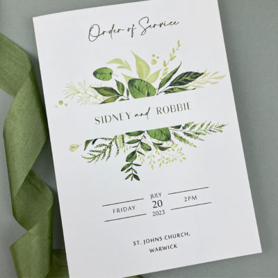 Sidney Greenery Order of Service