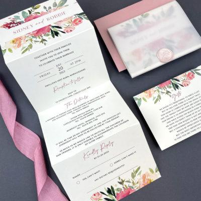 Sidney Pinks Trifold Wedding Invitation