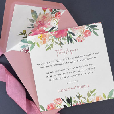 Sidney Pinks Thank you card
